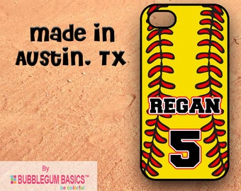 Custom Phone Case iPhone 6 5/5s 4/4s Samsung Galaxy s4 s5 - Softball Sports Fan Mom Dad Name Number - Fastpitch - Monogrammed Personalized