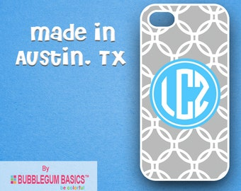 Custom Phone Case iPhone 6 5/5S 4/4S Samsung Galaxy S4 S5 - Gray Links Lite Blue Circle - Monogrammed Personalized