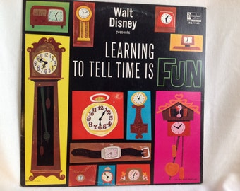 Walt Disney Learning To Tell Time is Fun Record Album