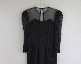 madmen style black lace wiggle dress