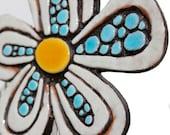 Flower garden art - plant stake - garden marker - garden decor - flower ornament - ceramic flower - dots - white and turquoise