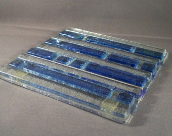 Vintage Mid Century Hand Made Art Glass Tile Blue Abstract Geometric Architectural Modern Home Decor