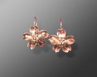 Copper Sakura Cherry Blossom Earrings (MX-11006-006)