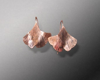 Textured copper hook ginkgo leaf earrings (MX-11001-016)