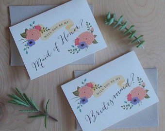 Will you be my Bridesmaid Cards with folk style whimsical flowers