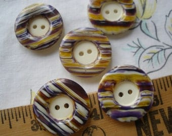 "Cool Vintage Buttons yellow & purple swirls 5 plastic sew on 7/8"" buttons 2-hole on cream recessed face rustic pre-owned reclaimed"