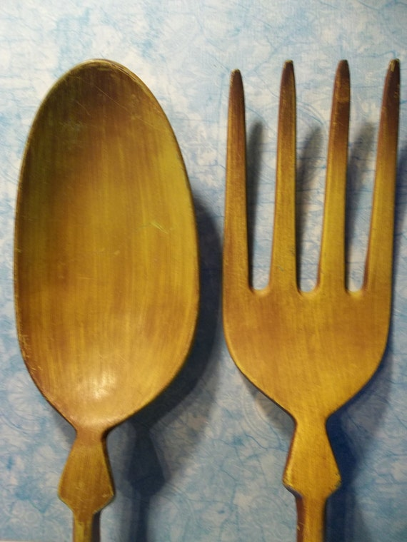vintage oversized 1960s spoon fork wall decor by. Black Bedroom Furniture Sets. Home Design Ideas