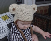 Natural Alpaca Bear Hat for Baby Size 12-18 months