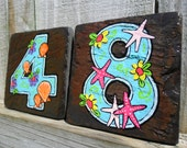 House Numbers Address Tiles BEACH SLATE 4 x 4 tile