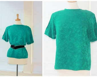 Green jacquard pure silk blouse / 1980s keyhole back button & shoulder pads / emerald jade teal dressy luxury fashion / ladies small