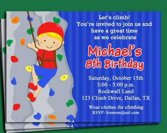 Rock Wall Invitation Printable or Printed with FREE SHIPPING - You Pick Hair Color/ Skin Tone  - Rock Climbing Collection