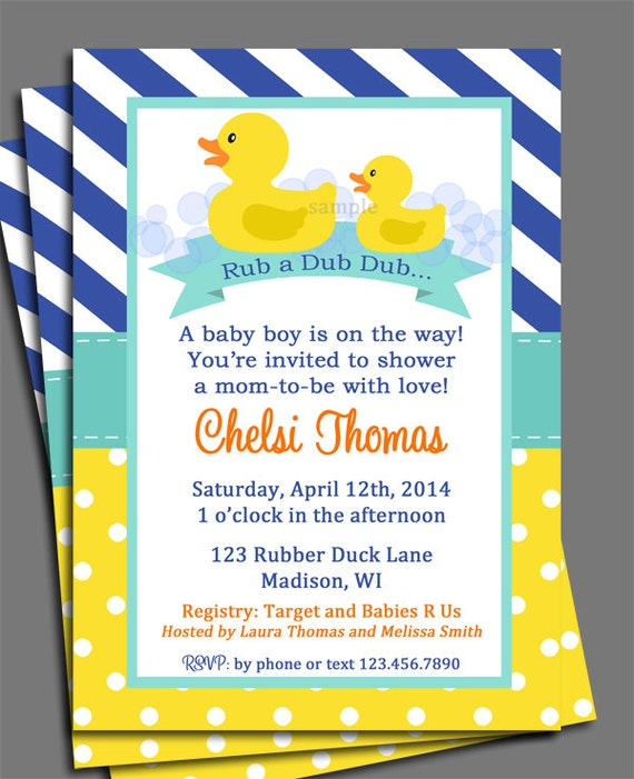 Rubber Duck Baby Shower Gender Reveal or Birthday Invitation – Rubber Duck Birthday Invitations