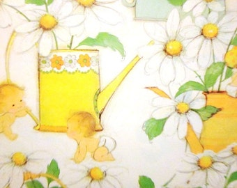 Vintage Wrapping Paper - Daisies and Can Baby Shower - One Sheet New Baby Gift Wrap - 1976