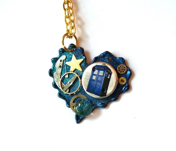 Doctor Who Necklace Blue Nebula Heart Necklace