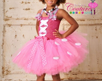 Disney Minnie Mouse inspired pink and white over the top Birthday dress