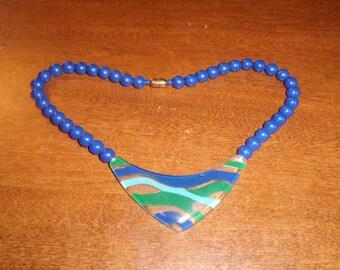 vintage necklace choker lucite blue beads