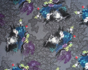 Disney Villains,  Couture Lace, Female Villains, Disney Fabric, Gray Background, Cruella Deville, Maleficent, Queen Stepmother, By the Yard