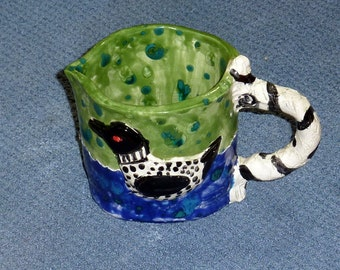 Turtle and loon sweet pitcher hand made in US from a lump of clay UNIQUE
