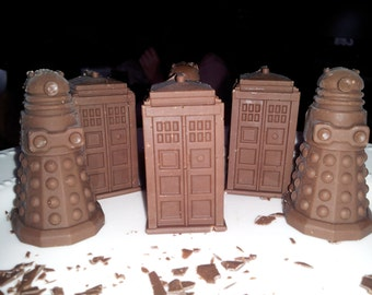 6 Chocolate Tardis and Dalek Bars - Only Available October thru April