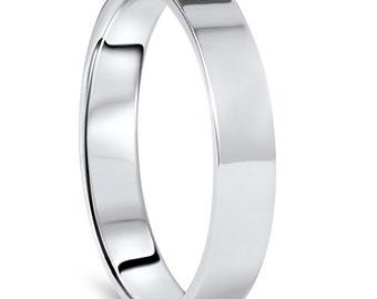 14K White Gold, Anniversary Ring, Wedding Band, Flat, High Polished, Mens Wedding band, Gift For Him, Wedding band, Ring For him, White Gold