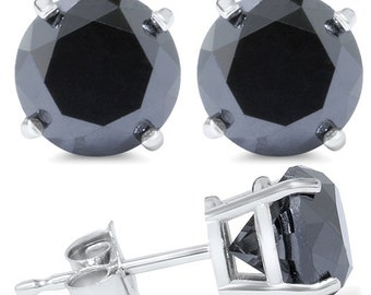 3.10CT Black Diamond Studs 14K White Gold