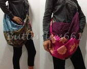 Hot Pink and Earthy Brown Tone Patchwork Hippie Gypsy Boho Thai Handmade Batik Cotton Bag