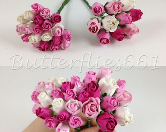 30 Mixed Sizes of Pink Color Semi Open Rose Buds