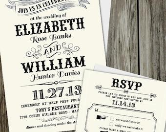 25 Printed Vintage Chic Wedding Invitation Set with RSVP card and Envelopes