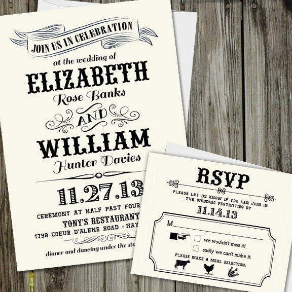 25 printed vintage chic wedding invitation set with rsvp card