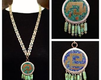Hand Wrought c.1950s Mexican Mayan Aztec Folk Art, Antonio Castillo, Los Castillo,  Metales Casado Mexico Necklace