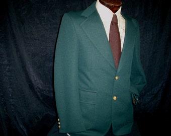70s 37R Beacon Hill Polyester Men's Blazer Jacket Golf Disco Forest Green