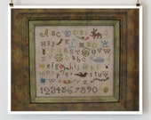 Earth Sampler : The Primitive Needle OOP cross stitch kit patterns linen threads needles Lisa Roswell out of print hand embroidery