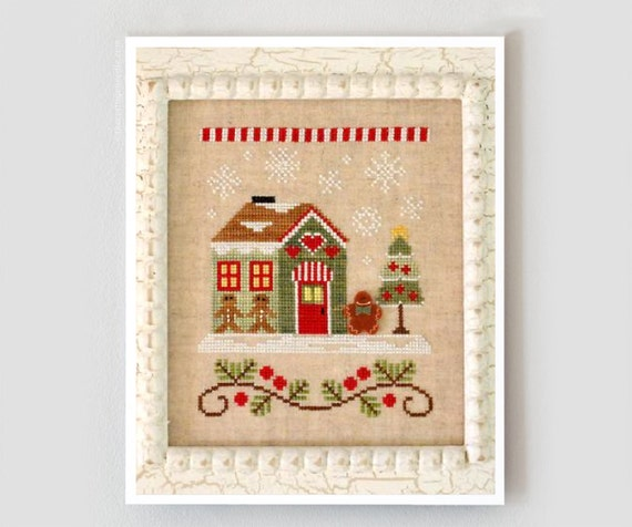 Gingerbread Emporium : Santa's Village No. 10 Country Cottage Needleworks counted cross stitch pattern  and button Christmas embroidery