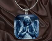 Stone Angel glass tile pendant