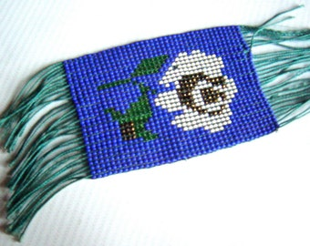 Antique English Beaded White Rose Book Mark British Souvenir