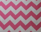 Cotton Fabric - Hot Pink an White Chevron Riley Blake Fabric . Cotton fabric for quilting, clothing, infant car covers and