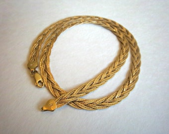 Vintage Italian Sterling Silver Necklace Braided Woven Gold Vermeil