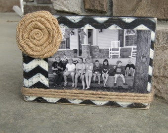 Distressed, vintage, shabby wood picture frame, bridesmaids gifts under 20 dollars, chevron picture frame, hostess gifts