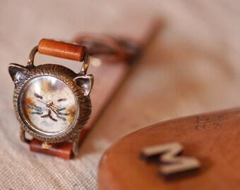 Vintage Handmade Wrist Watch. Handstitch Leather Band /// A cute Cat NekoNeko - Perfect Gift for Birthday, Anniversary