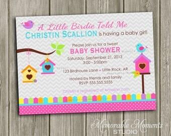 PRINTABLE INVITATIONS Little Birdie Baby Shower - Tweet Bird - Memorable Moments Studio