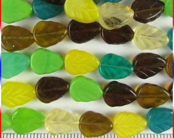 Assorted 8mm x 10mm Leaf Beads Czech Glass - 1 Strand