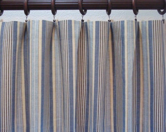 Waverly Stripe Blue and Yellow Valance Kitchen Curtain Boys Window Valance Boys Curtain Unlined 52X12 52x14 52x16 52x18