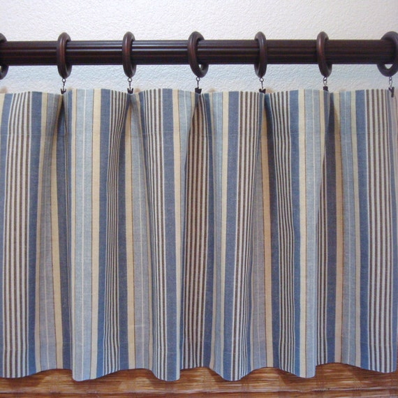 Waverly Stripe Blue And Yellow Valance Kitchen Curtain Boys