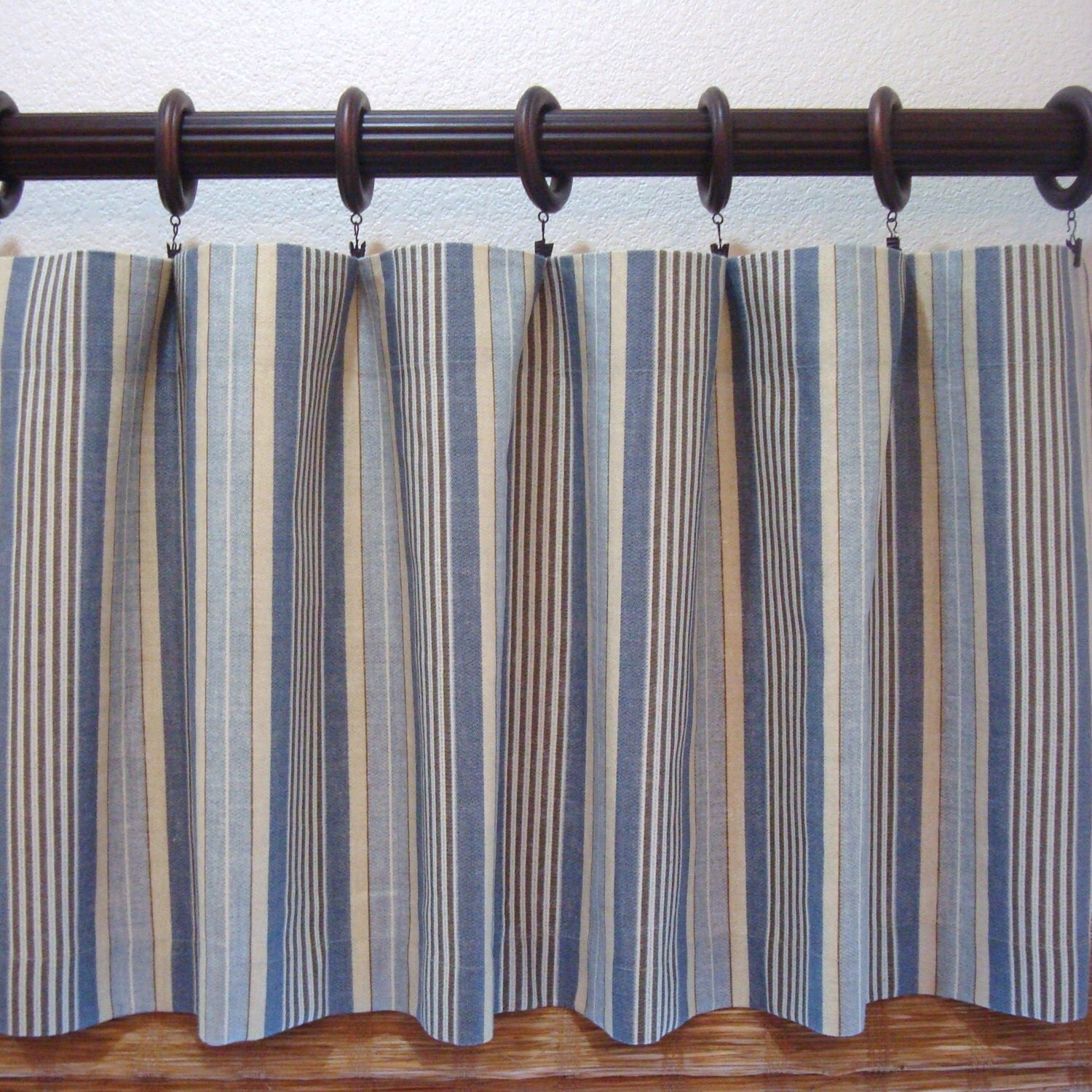 Blue And Yellow Kitchen Curtains: Waverly Stripe Blue And Yellow Valance Kitchen Curtain Boys