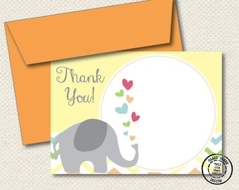 Chevron Elephant Thank You Cards - 15 5x7 Thank You Cards with Envelopes