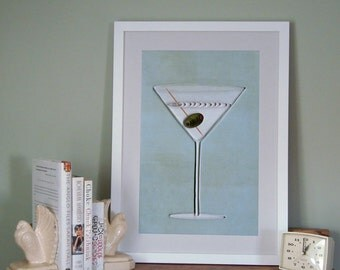 Dirty Martini poster, Bar Art print, quilled Martini with olive, quilling art print, Paper art print, 12x18in, Ready to ship