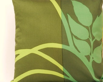 "Vintage Marimekko Pillow Cover 18 x 18  inch with zipper closure, Sateen Fabric ""MADISON WI""  Greens, Yellow Green, Dark Olive"