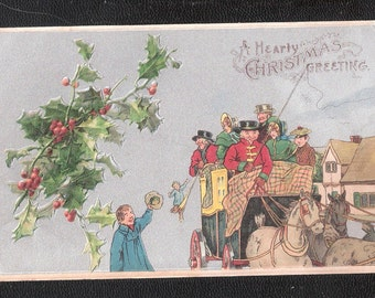 Embossed postcard A Hearty Christmas Greeting unused old antique vintage postcard