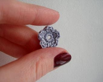 Crochet Flower Appliques, Tiny Small Cute Flowers, Decorative Motifs, Elegant Purple Gray Grey, Set of 10, Embellishments, Scrapbooking