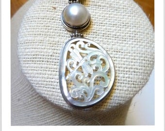 Pearl Dragonfly Indonesian Silver pendant